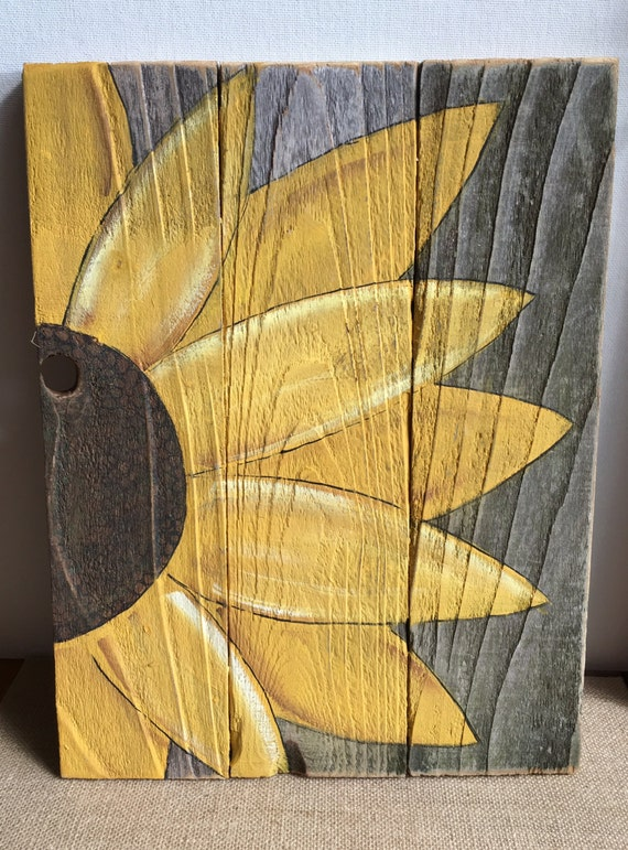 Hand painted sunflower on old barn wood fence board wall decor Best paint for painting wood