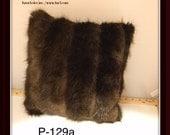 P-129 Genuine Brown Beaver Fur Pillow 13 x 13 Great Decor