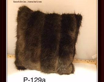 P-129 Genuine Brown Beaver Fur Pillow 13 x 13 Great Decor