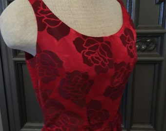 50s Red Rose Wiggle Dress