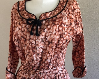 50s Belted Zip Front Novelty Print Day Dress