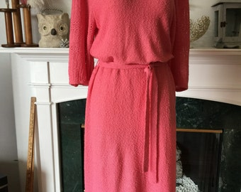 Vintage Pink Office Girl Sweater Knit Dress
