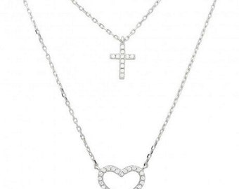 Sterling Silver Rhodium Plated Double Chain CZ Cross And Open Heart Necklace #41