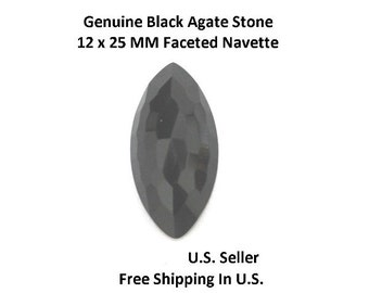 100% Natural Black Agate 12 x 25 MM Faceted Navette (Pack of 1)