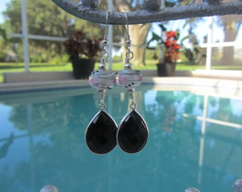 Pink And Black Artisan Lampwork Glass With Faceted Onyx Sterling Silver Dangle & Drop Earrings E#1209/15