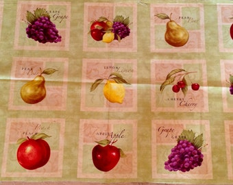 Fabric Panel Fruit Apple Pear Grapes Cushions Wall hanging Quilting