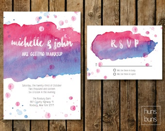 Watercolor Wedding Invitation (Digital File)