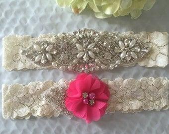 Wedding Garter Set - Bridal Garter Set on a  Lace Garter