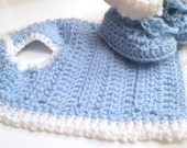 Light Blue and White Crochet Bib and Booties Set