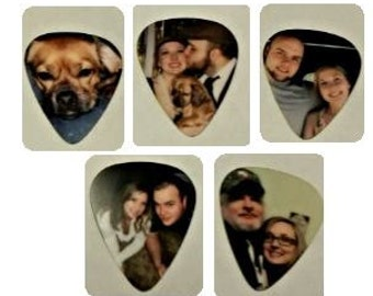 5 PERSONALIZED GUITAR PICKS - your pictures on a pick!