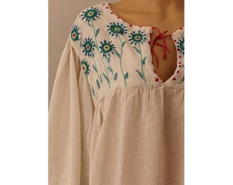 Angie  1970 gauze embroidered Blouse angel sleeves