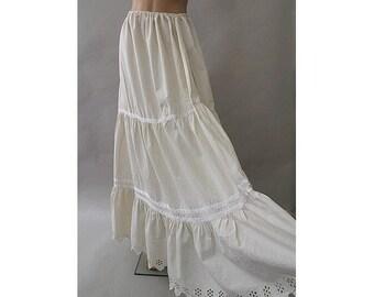 1970 Maxi ecru cotton Skirt  open lace