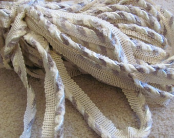 """White Beige Twisted Braid Cord Lip Upholstery Pillow Trim  - 1"""" Inch Wide - 2 Yards Each Length (013)"""