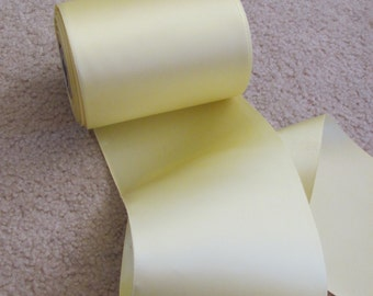 Vintage Yellow Soft Satin Ribbon 4.5 Inch Wide - 2 Yards Total (#202)