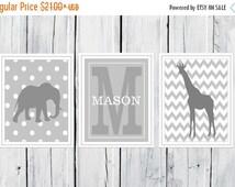 ONSALE Gray Safari - Jungle Nursery Prints  - 3 Print Set -  Nursery Decor -  Custom Colors -  Gray Nursery Decor
