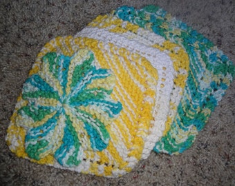 """Hand Knit - Wash Cloths - Set of 6 in Cotton - 5"""", 6"""" and 6 1/2"""" - 2 yellow/white, 2 yellow/white/aqua/lime, 1 white, 1 mini - BL05"""