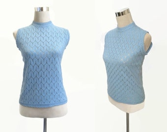 60's Mod Top - 1960's Vintage Shell Top - Blue Top - Sleeveless Top - Knitwear - Mod Retro Small