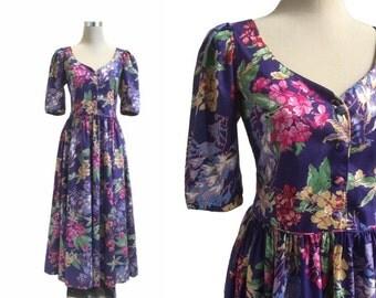 Vintage Laura Ashley Dress - 1980s - Purple Floral Print Dress - Vintage Dress