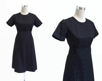 1960's Vintage Black Mini Dress - 60's Dress - Little Black Dress