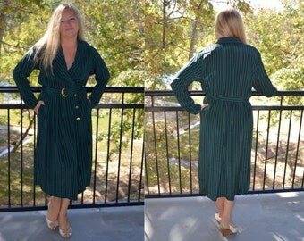 Green and Blue Dress, Striped Dress, Size 10, Women's Long Sleeved Dress, Leslie Fay Green and Navy Striped Vintage Dress