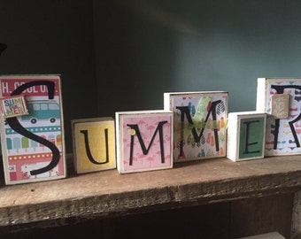 Summer Home Decor - Wood Blocks Wood Letters Summer Sign Summer Decor/Decorations Seasonal Decor