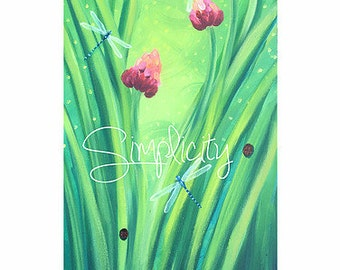 Dragonfly Daydream - pink flowers, dragonflies