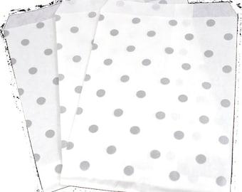 50 6x9 Silver Polka Dot Paper Gift bags, Merchandise Bags, Gift Bags Bags, Wedding Favor Party Bags, Graduation Gift Bags Bulk Discount