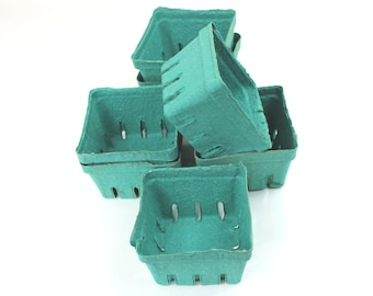 35 Bargain Bin Green Pint Baskets, Pulp Berry Baskets, Recyclable Party Favor Boxes Wedding Gift Baskets, Treats Baked Goods Party Favors,