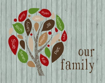Personalized Modern Leaf Family Tree Digital Delivery