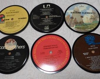 Vinyl Record Album LP Coasters set of 6 mixed artists #A9