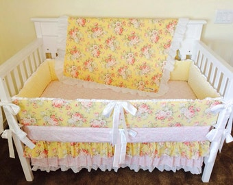 Custom Yellow Vintage Rose & Lace Crib Set