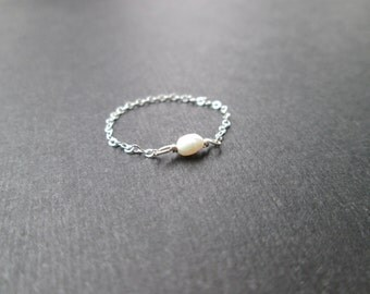 Freshwater Pearl Chain Ring -  Sterling Silver, 14K Gold Filled, 14K Rose Gold Filled