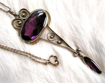Purple Glass Lavalier, Edwardian Art Nouveau Goldfilled Pendant, Oval Amethyst Glass Drop, Arts and Crafts, Late Victorian Necklace