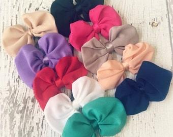 Grab Bag of Fabric Bows - Set of 5 - Flat back (no clips) - DIY Baby Headbands - Clearance RANDOM Assortment of Colors - Soft Fabric Bows