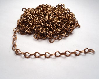 10 feet - Brass twisted figure 8 link Chain - m38