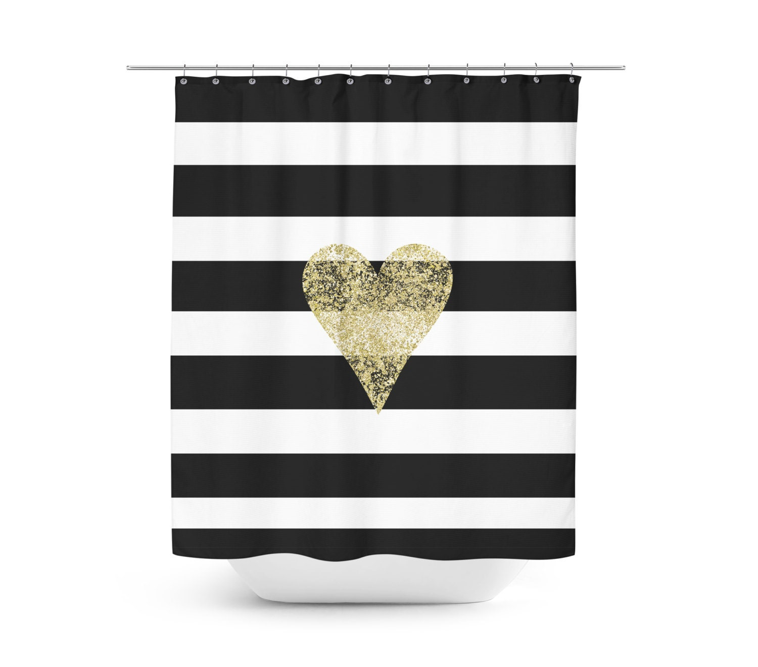 faux gold heart black and white striped shower curtain. Black Bedroom Furniture Sets. Home Design Ideas