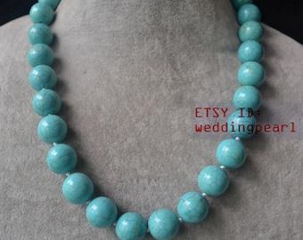 14mm single strand big turquoise necklace,blue turquoise bead necklace,wedding necklace,statement necklace,man- made turquoise necklaces