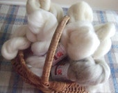 Wool Top and Roving Fiber Sampler, 1 oz. each of Romney, Mohair, Falkland, Dom. 56's,  and natural, oatmeal and silver grey local long wools