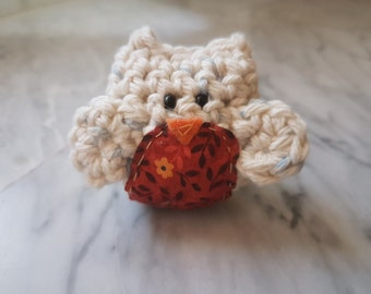 Owl Crochet Stuffed Doll Toy Round Adorable Oatmeal