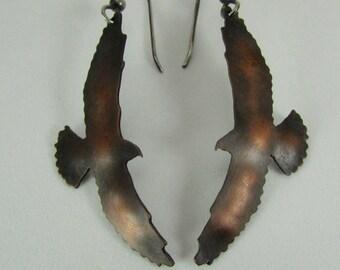 Copper Hawk Earrings - Hawk Earrings Copper - Sterling Silver Ear Wires