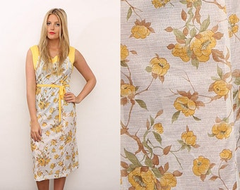 Vintage 70s Yellow Floral Print Summer Occasion Wedding Dress. UK 10/12.