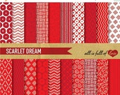 80% off Red paper digital papers, commercial use, scrapbook papers, background Valentines paper hand drawn papers valentines wrapping 2 /16