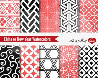 Chinese New Year Digital Paper Pack Asian Backgrounds Watercolor Papers Red Black Patterns 12x12 Seamless Patterns Commercial Use