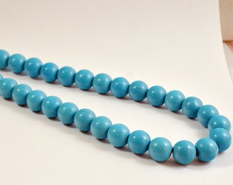 One Full Strand--- Blue Round Turquoise Gemstone Ball Beads ----14mm----30 Pieces----15.5 inch