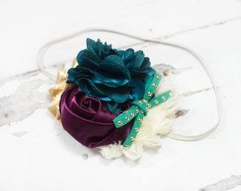 Masquerade - headband in deep teal, turquoise, deep plum purple, gold and cream (RTS)
