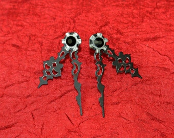 Black Clock-Hand with Silver Gears and Crystals Earrings
