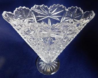 Hofbauer Crystal Vase, The Byrdes Collection,  Large Fan Vase Crystal Flower Vase, Christmas Gift