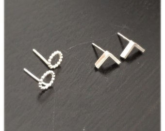 Earrings set- small geometric stud earrings
