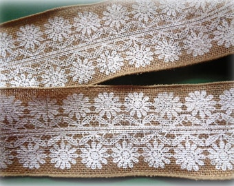 """Floral Lace Burlap Wired Ribbon, Natural / White, 4"""" inch wide, 1 yard For For Gift Packing, Wreaths, Bows, Center Pieces, Home Decor"""