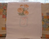 Marigolds in a Mason Jar  Flour Sack Dish Towel
